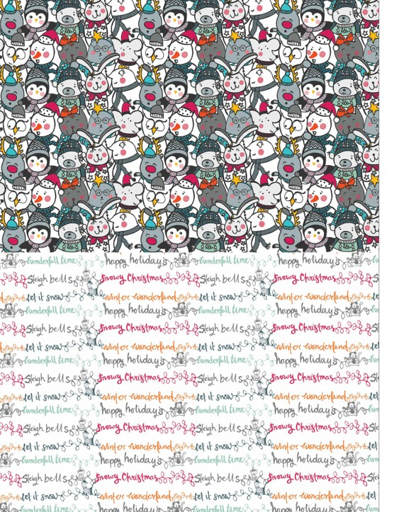 Merry musical Christmas patterned papers 1