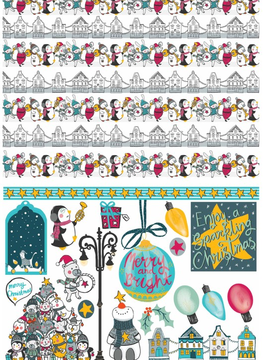 Merry musical Christmas patterned papers 3