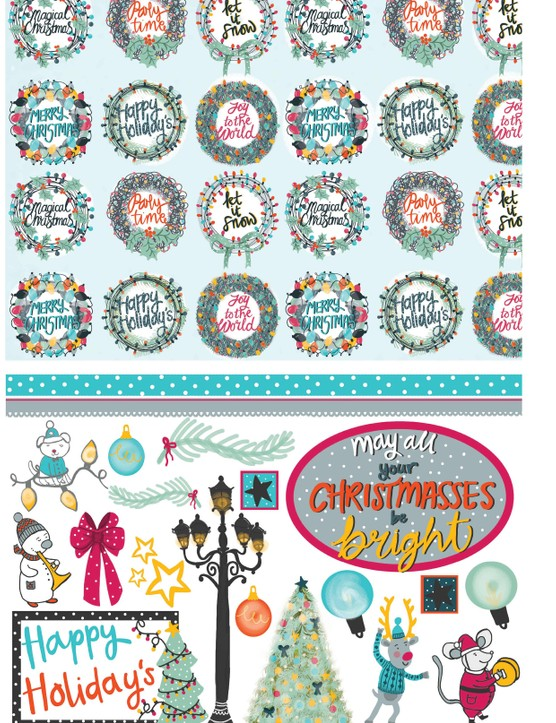 Merry musical Christmas patterned papers 4