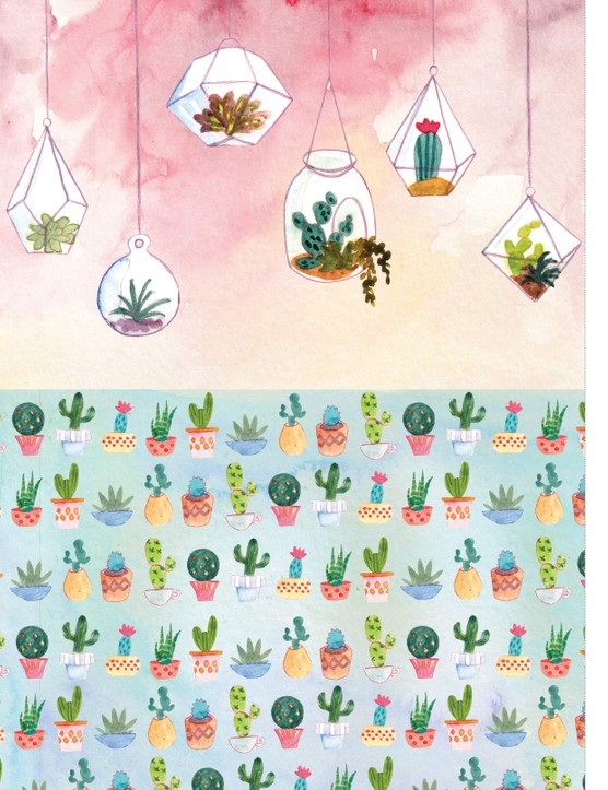 Stylish succulent patterned papers 1