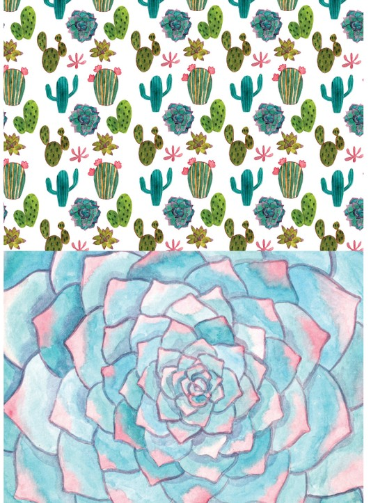 Stylish succulent patterned papers 2