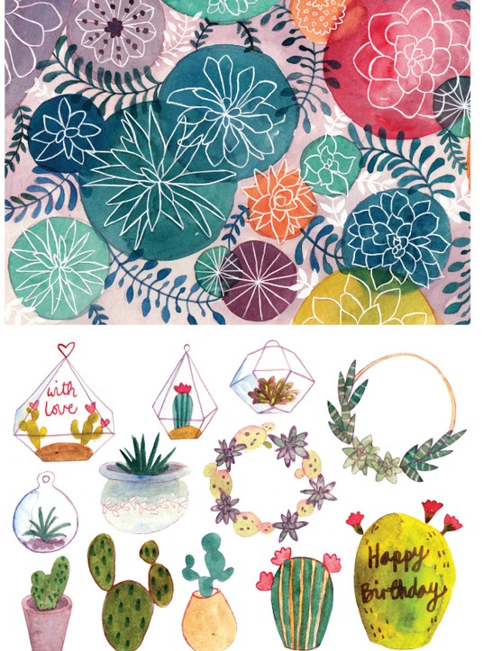 Stylish succulent patterned papers 3