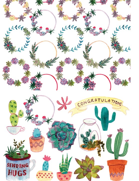 Stylish succulent patterned papers 4