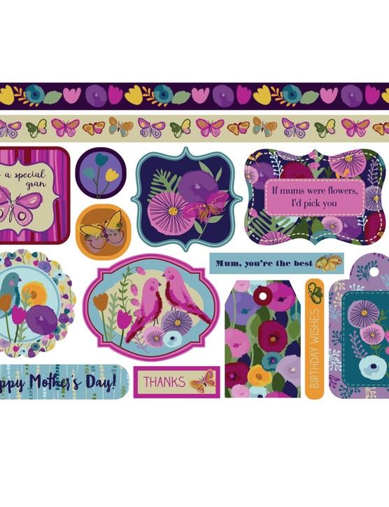 Abstract Florals patterned papers 08
