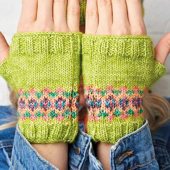 Fair Isle knitting pattern gloves