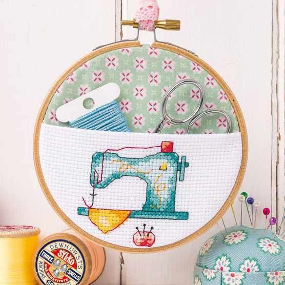 Free sewing machine motif cross stitch chart by Susan Bates cropped