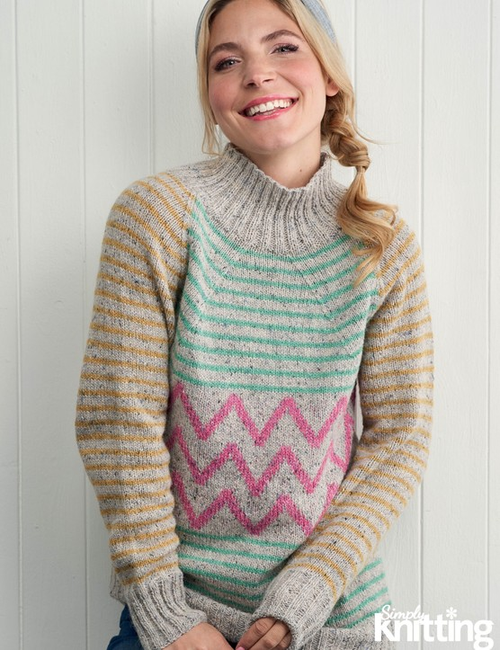 Simply Knitting 197 zigzag jumper