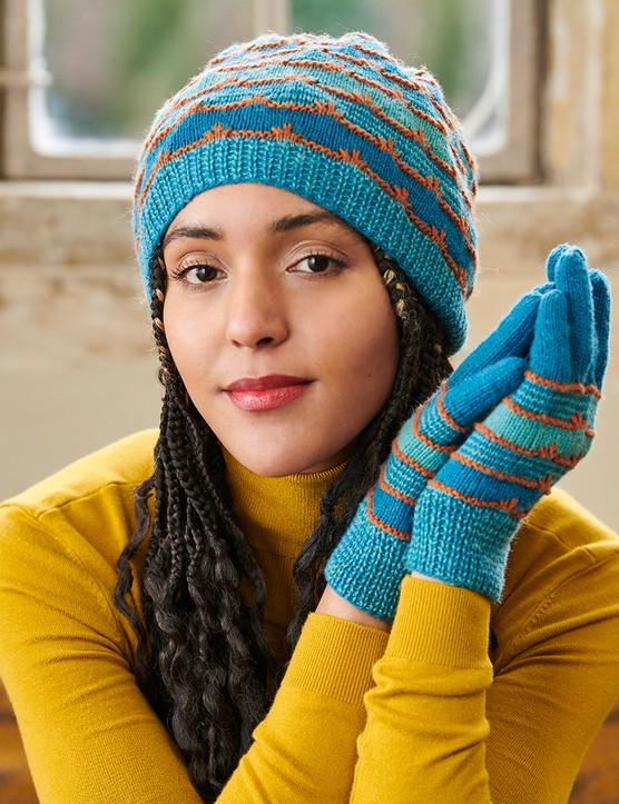 The Knitter 161 hat and gloves Caroline Birkett