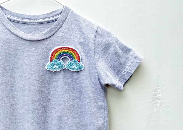 DIY embroidery rainbow patches