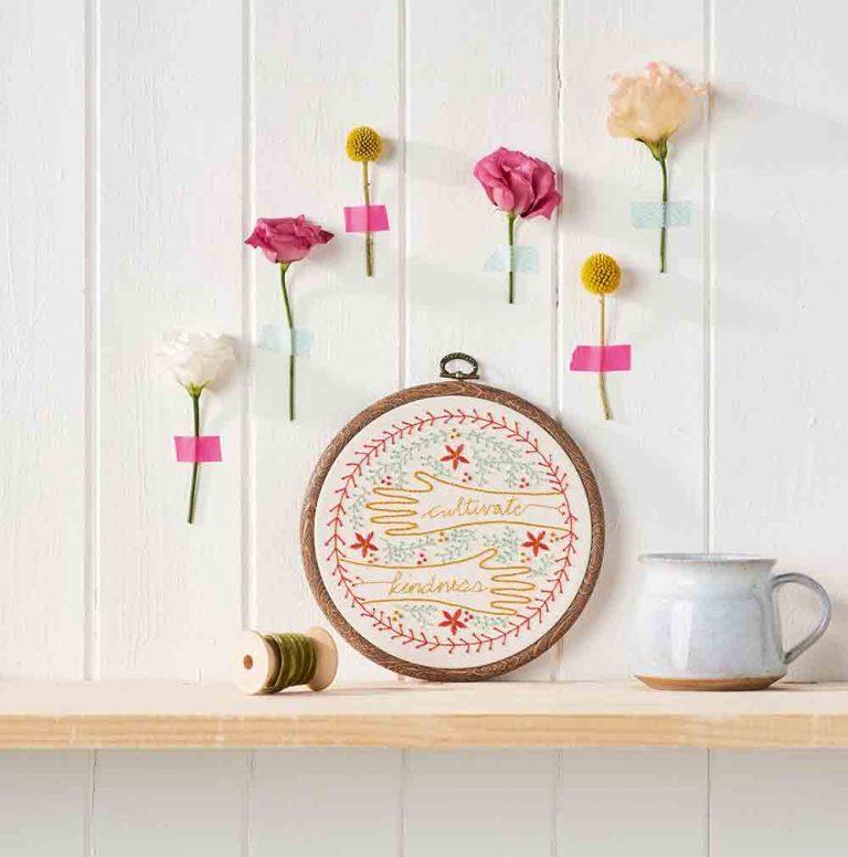 Floral embroidered hoop art