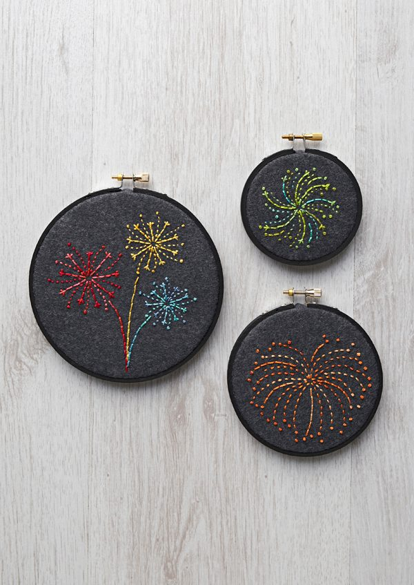 13. Free hand embroidery fireworks design