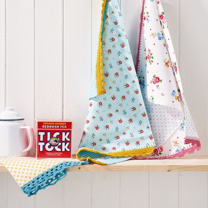 How To Decorate Tea Towels With Crochet Edging Gathered
