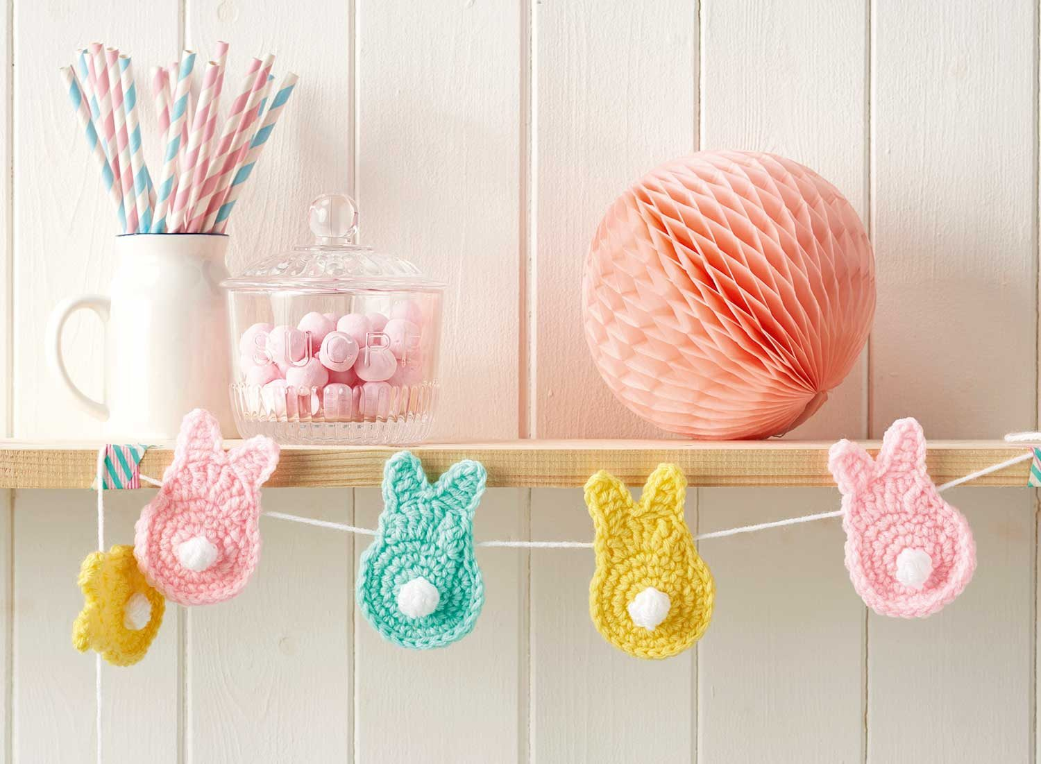 How to make easy crochet bunny bunting