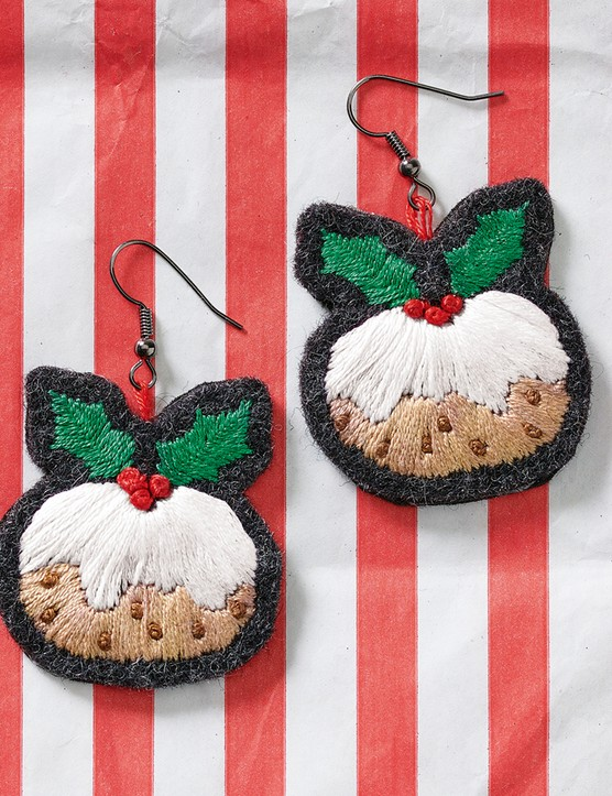 Christmas pudding earrings from Love Embroidery issue 19
