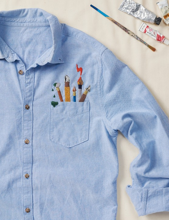 Artist's pocket shirt by Ella from Bearshark Embroidery