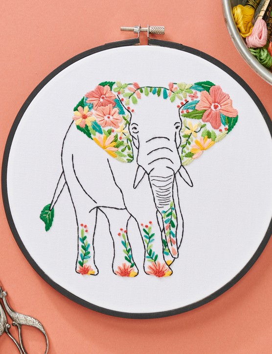 Floral elephant hoop by Andrea Beiko
