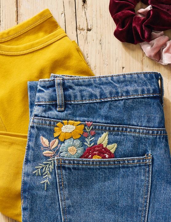 Floral denim jeans pocket by Jenny Billingham of Flynn & Mabel