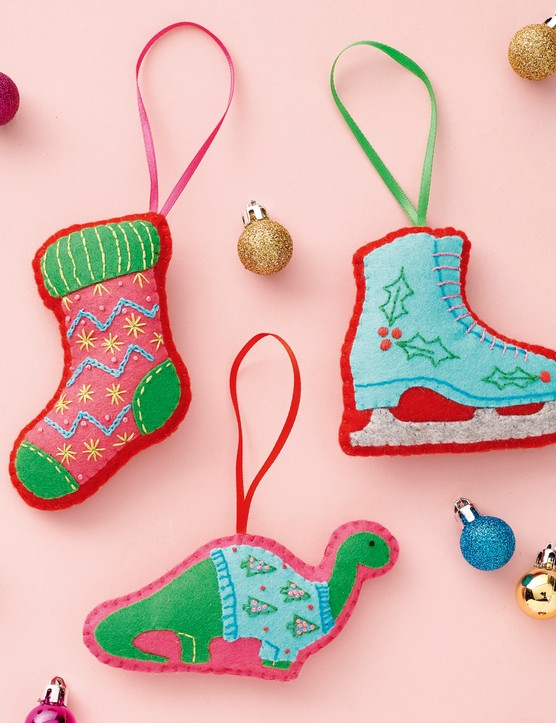 Colourful felt baubles from Love Embroidery issue 19