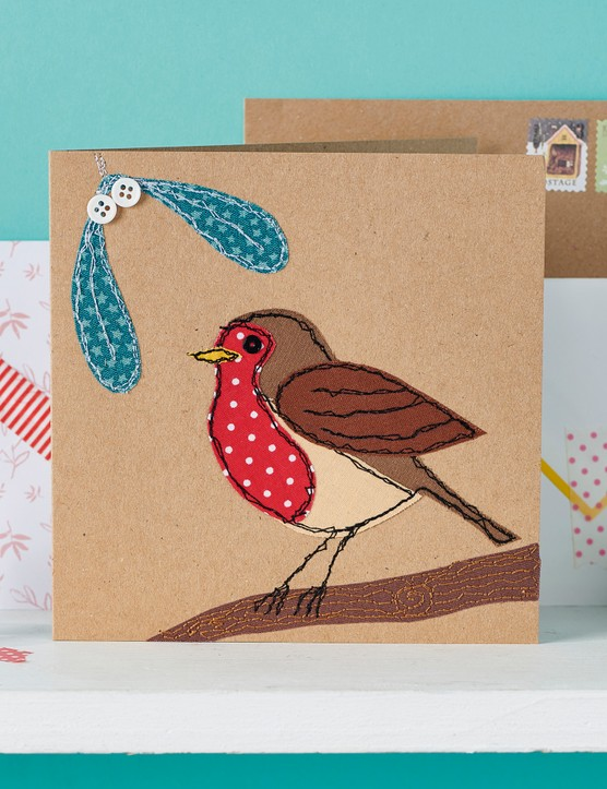 Appliqué robin card from Love Embroidery issue 19