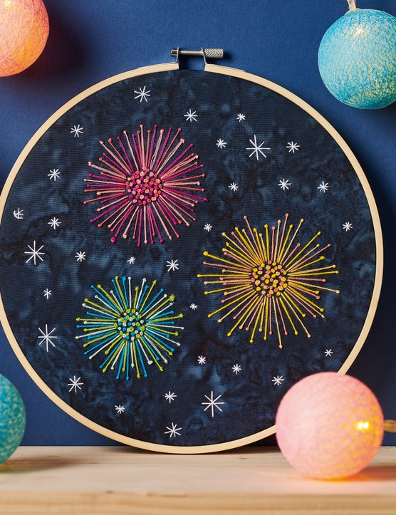 Pistil stitch fireworks hoop from Love Embroidery issue 19
