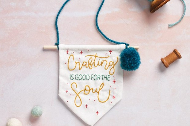 Embroidered banner tutorial – crafting is good for the soul
