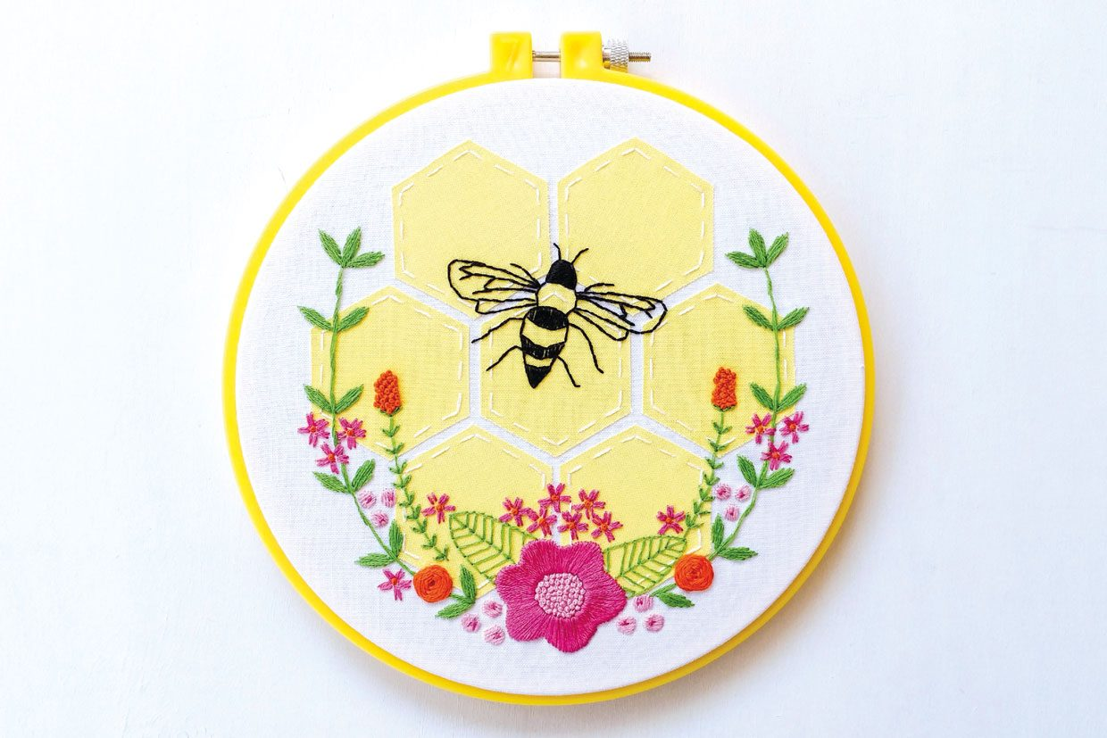 Bzzzzz Stitch up our 2 bee embroidery patterns