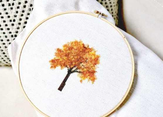 autumn cross stitch patterns step 1