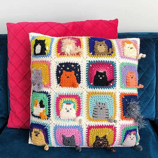 Crochet granny square cat cushion