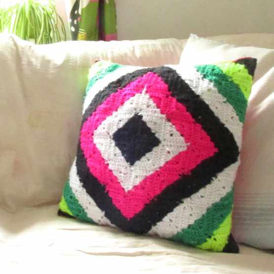 Neon granny square cushion pattern