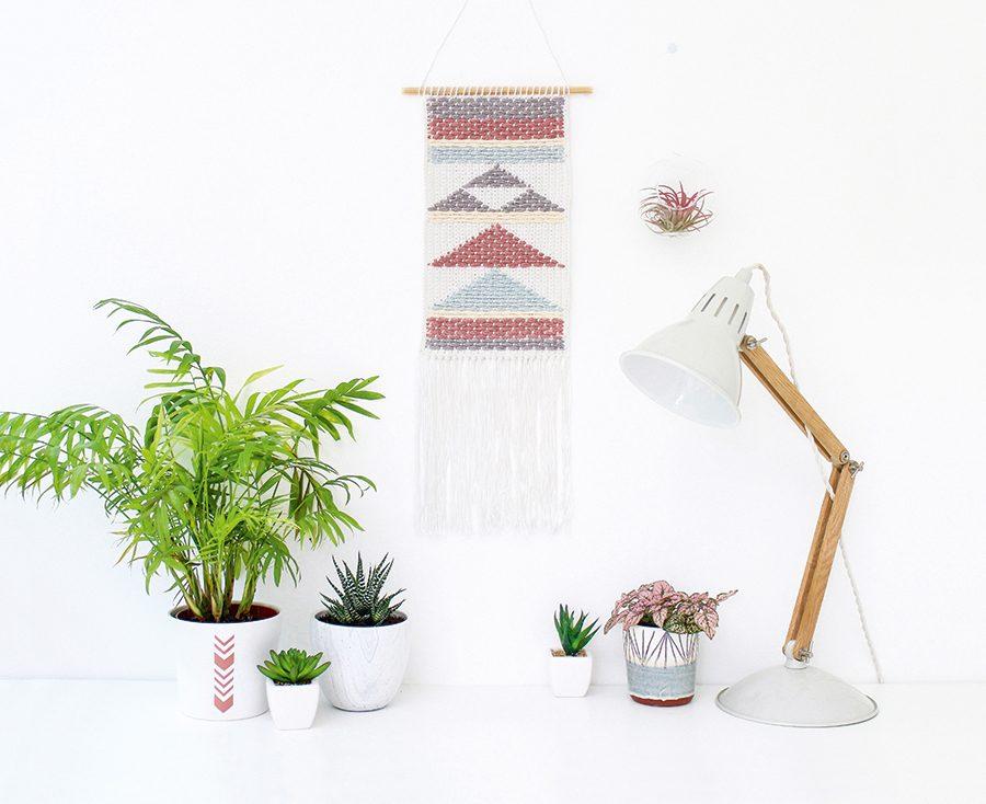 Geometric weaving wall hanging