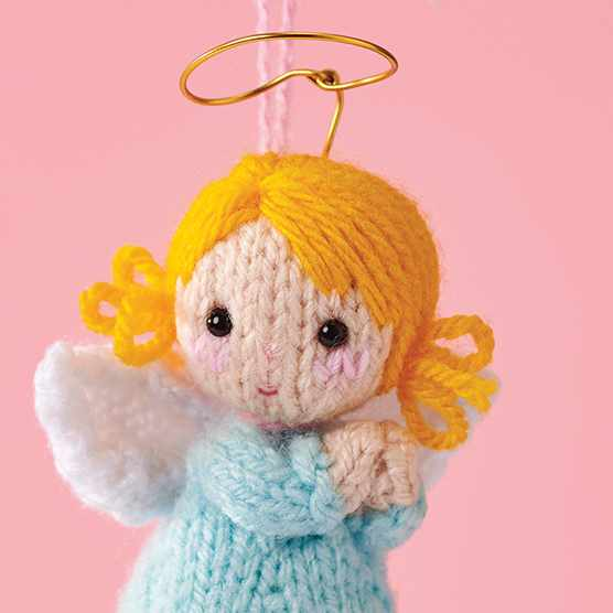 Knitted angel pattern close up