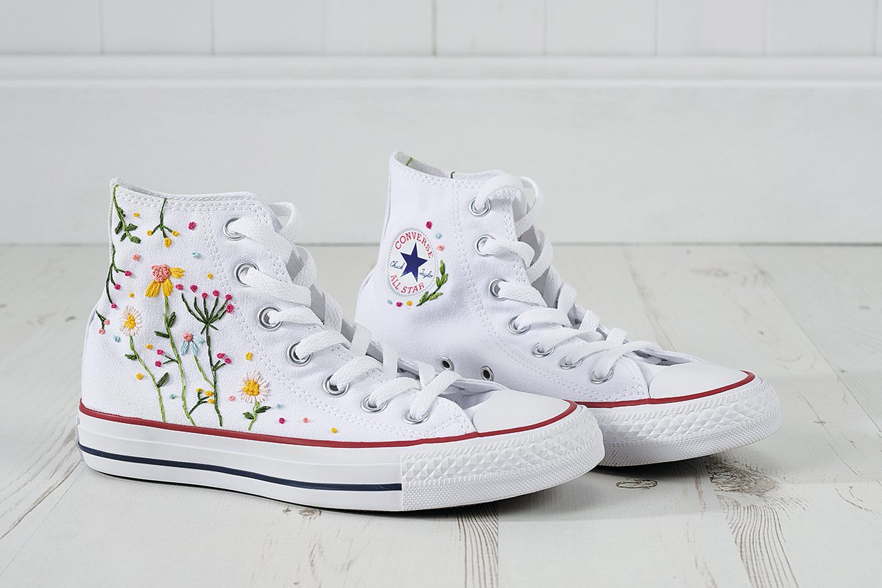 How to add embroidery stitches for flowers high-top sneakers