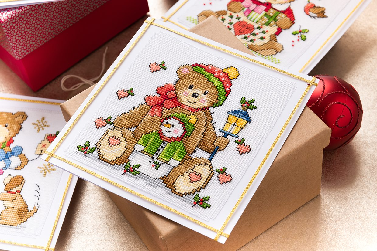 Christmas teddy bear cross stitch pattern