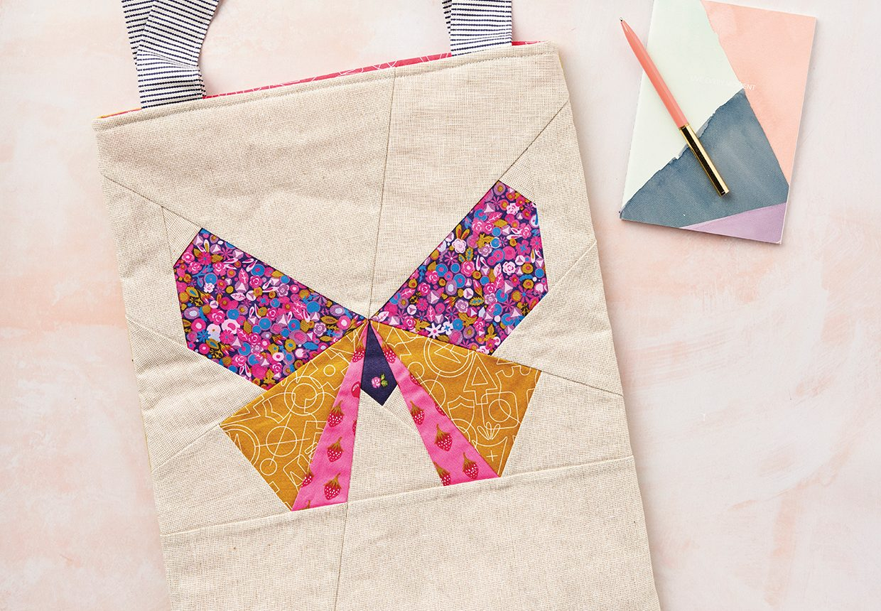 How to make a patchwork butterfly tote bag
