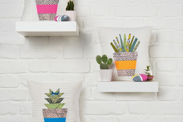 Free cactus quilt patterns: how to paper piece patchwork succulents