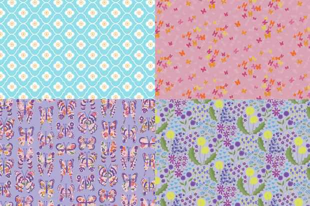 Free butterfly and wildflower patterned papers
