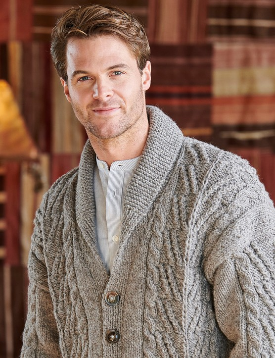 Sumptuous cables in a cardi for him – or for you!