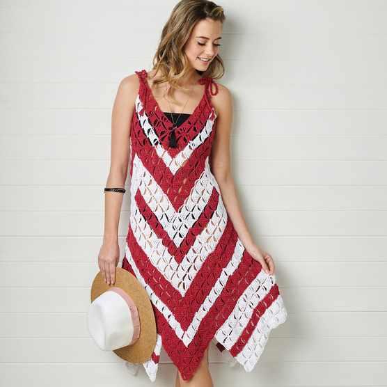 Candy cane beach dress crochet pattern