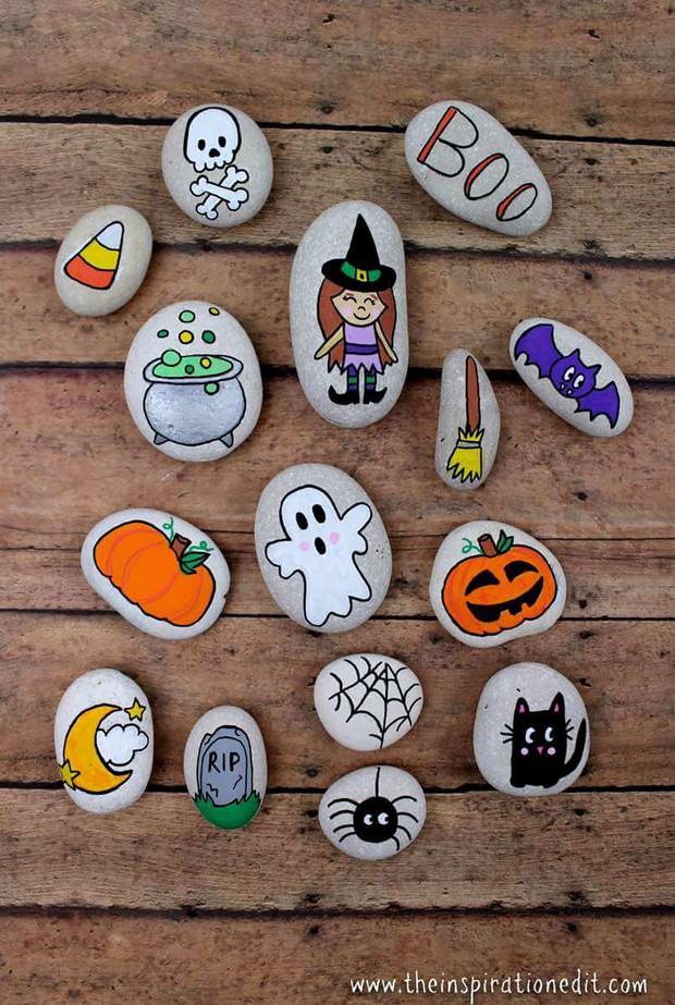 Halloween rock painting ideas – story stones