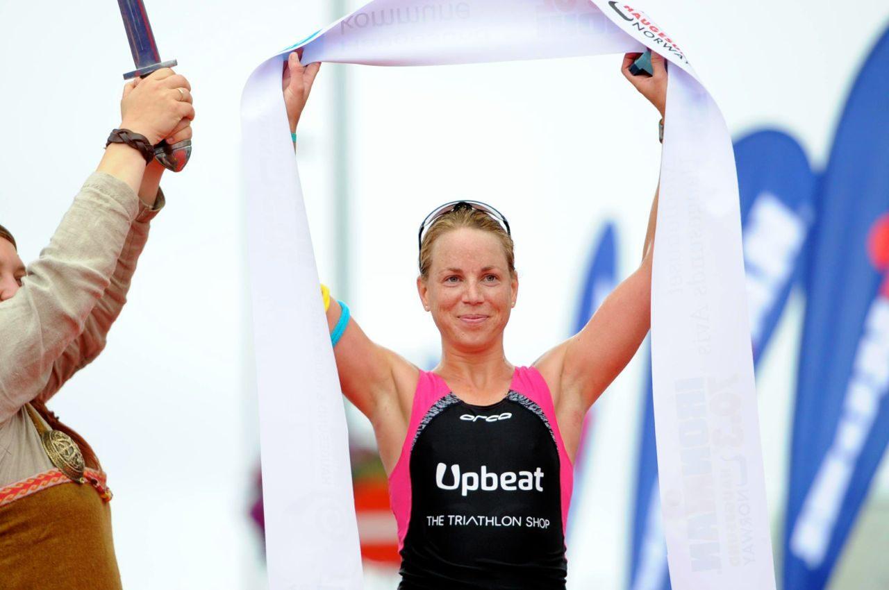Susie Hignett after winning an Ironman 70.3 race