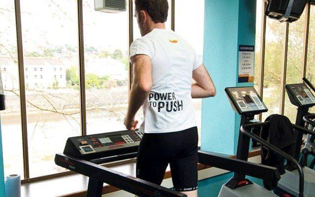 Joe Beer running on a treadmill