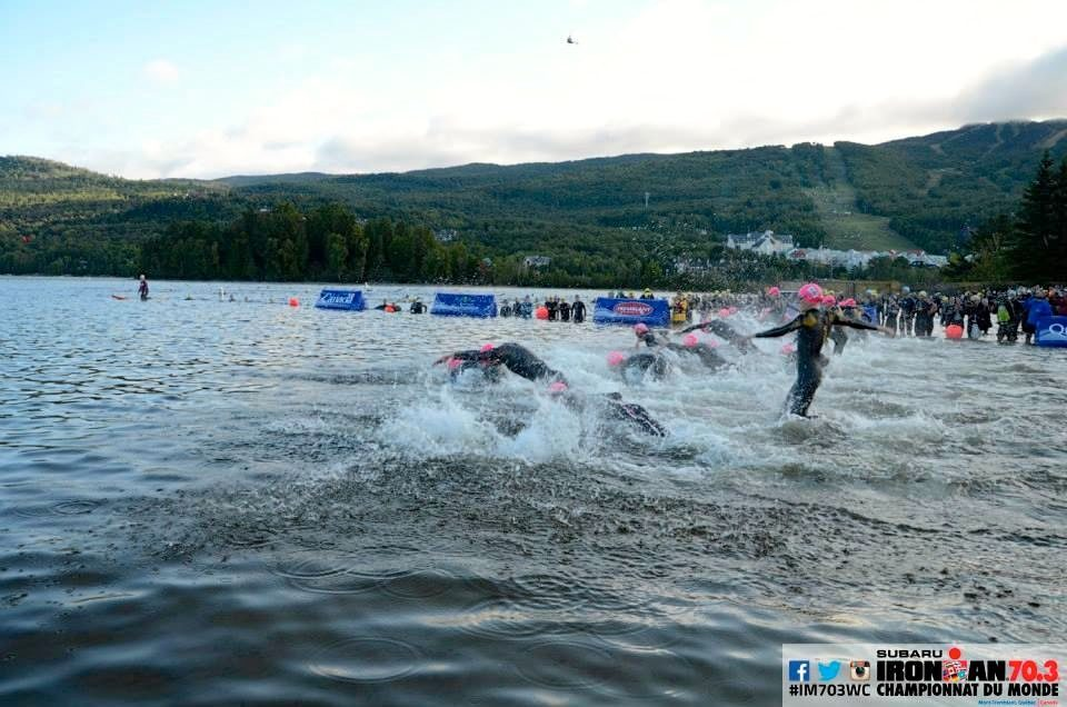 Female pros diving into the water at Ironman 70.3 World Championship 2014 in Mont Tremblant