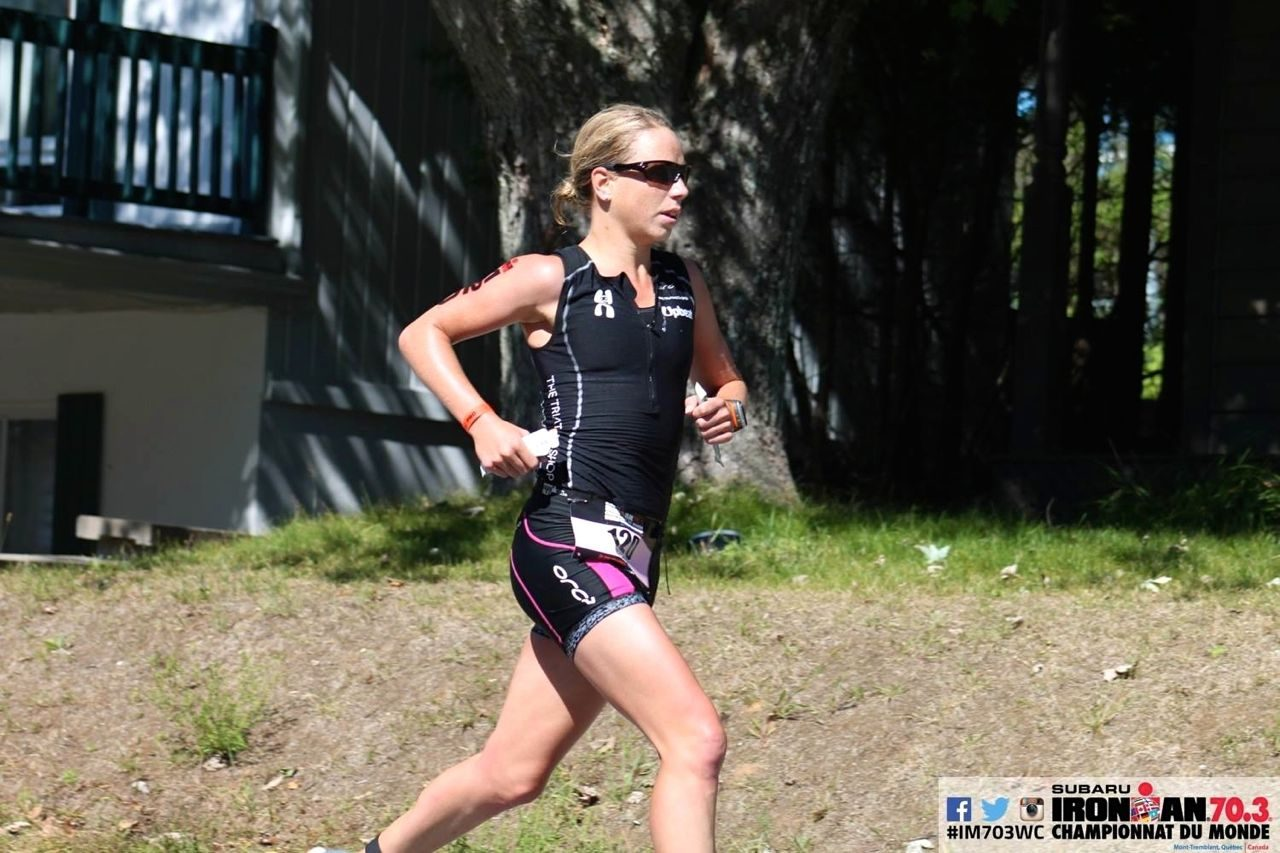 Susie Hignett on the run at Ironman 70.3 World Championship 2014 in Mont Tremblant