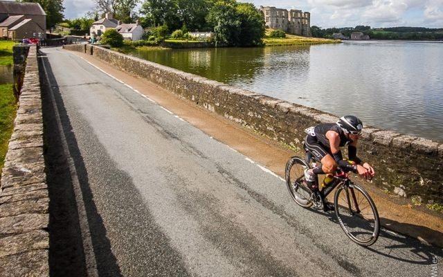 Triathletes cycling at Ironman Wales