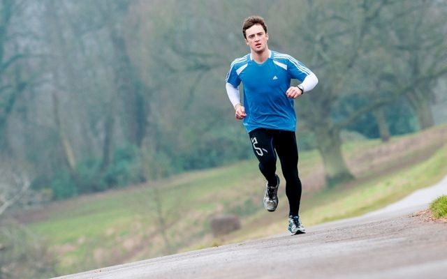 Triathlete in run training