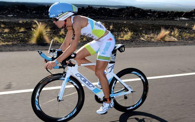 Mirinda Carfrae riding at Kona