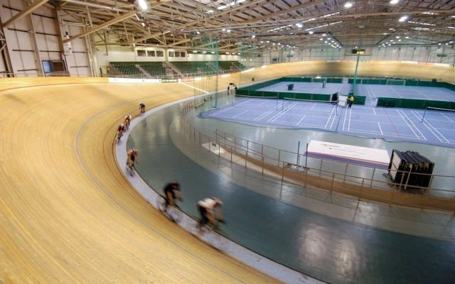 Cyclists at a velodrome