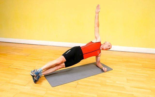 Triathlete doing a side plank