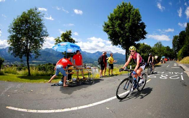 Triathlete on the bike leg of an Ironman