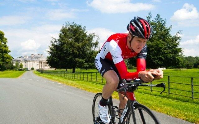 Biker on the route for Ironman 70.3 Staffs